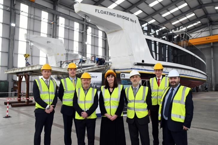 Cabinet Secretary, Lesley Griffiths with Mainstay Marine Solutions and MST